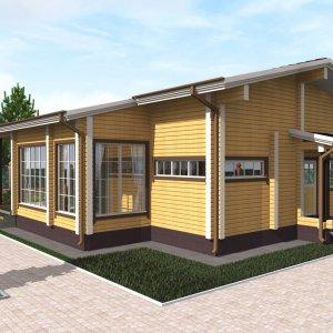 одноэтажный дом из клееного бруса
