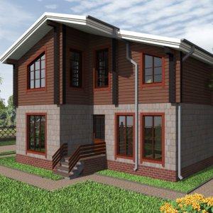 комбинированный дом из клееного бруса